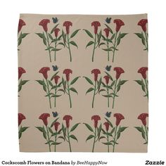 Cockscomb Flowers on Bandana