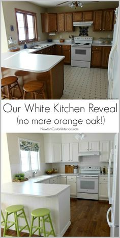 Our White Kitchen Reveal. See how we updated our 90's kitchen. No more orange oak!