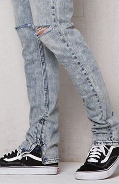 0d9b2e10cfaa9 Stacked Skinny Ripped Acid Wash Stretch Jeans  MensJeans