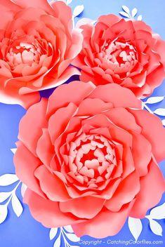How to Make Large Paper Peonies: Templates and Tutorial Pot Mason Diy, Mason Jar Crafts, Paper Peonies, Paper Roses, Giant Paper Flowers, Diy Flowers, Handmade Flowers, Fabric Flowers, Potted Flowers