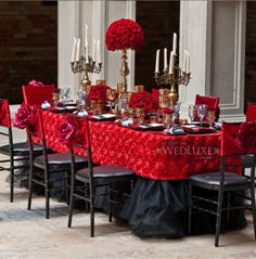 Red Black and Gold wedding Reception