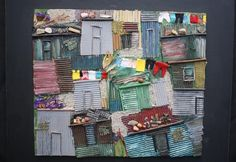Paintings - MIXED MEDIA ON BOARD, SQUATTER CAMP COLLAGE BY NOLA PRETORIUS was sold for R310.00 on 14 Mar at 12:31 by MIKE TALJAARD in Cape Town (ID:19848379) African Crafts, African Art, South Africa Art, African House, Collage, Cape Town, My Children, Creative Art, Home Art
