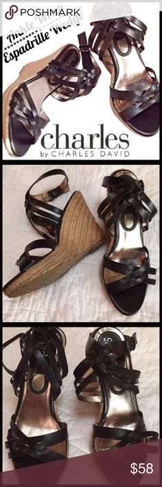 Charles David Espadrille Wedge Black woven leather espadrille wedge. In exceptional condition, worn only a couple of times. There are no obvious blemishes or signs of wear. Approximately 3 1/2 in wedge heel. Charles David Shoes