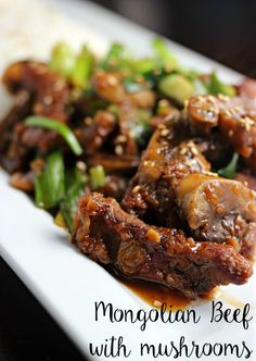 Easy Mongolian Beef with Mushrooms. Makes for a GREAT dinner and the sauce is amazing. Similar to the PF Chang's copycat recipe