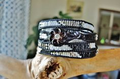 JAILBIRD BLING 5 Wrap Leather Bracelet by BraceletsofBlueRidge, $112.00