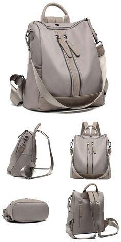 d2066cb664 Elegant Multi-function Handbag Large Waterproof Double Zipper PU School  Backpack  bag  Backpack  school  student