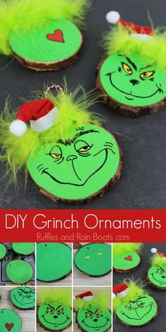 This fun DIY Grinch ornament set is perfect for any Christmas tree. Click through to see our easy tutorial (and another kid-friendly Grinch ornament)! via decor diy grinch DIY Grinch Ornament Set for a Christmas Tree or Gifts Grinch Christmas Tree Decorations, Grinch Christmas Party, Grinch Ornaments, Christmas Ornament Crafts, Diy Christmas Ornaments, Diy Christmas Gifts, Christmas Projects, Holiday Crafts, Kids Ornament
