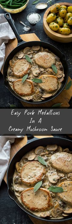 easy pork medallions in a creamy mushroom sauce - a fast, healthy, tasty meal, ready in under 30 minutes!