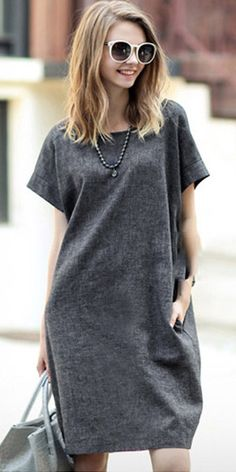 Fashion Solid Color Short Sleeve Round Neck Loose Dress - Fashion Solid Color Short Sleeve Round Neck Loose Dress Source by - Casual Summer Dresses, Casual Dresses For Women, Clothes For Women, Dress Casual, Knee Length Dresses, Short Sleeve Dresses, Loose Dresses, Linen Dresses, Cotton Dresses