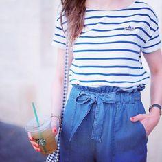 Bientôt le retour de l'été (et celui de la marinière) ! #shopsquare #mode #femme #été #mariniere #fashion #inspiration #fashionaddict #fashion #likeforlike #followforfollow #casual #streetstyle #bleu #starbucks #frenchie #france #look #lookbook #city #blog #blogger #entrepreneur #brunette
