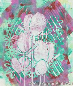Tangle Mania - gelli print for tangling