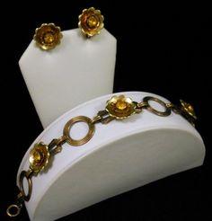 Art Deco Gold Over Sterling Silver Yellow Rhinestone Bracelet & Earrings Set FAB SOLD