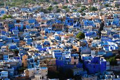 """Jodhpur, India is nicknamed """"The Blue City"""". Amazing use of colour across the cityscape."""
