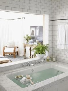 sunken soaking tub with shower | 34 Dreamy Sunken Bathtub Designs To Relax In