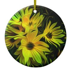Shop Abstract yellow flower wall clock created by Great_Outdoors.