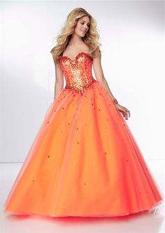 Burnt Orange Corset Prom Dresses