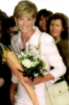 March 19, 1997: Diana, Princess of Wales at the Daily Star Gold Awards ceremony in London. She presented an award to former Royal Marine police captain, Chris Moon who had lost a leg when trying to clear a landmine in Mozambique. We lost Diana at the height of her beauty, our stunning Princess <3