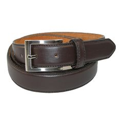 Made of genuine leather on man-made materials, this sharp looking belt is a traditional dress belt style. Classic satin silver buckle on a basic belt is a clean look that will always be a classic. The belt is slightly padded for depth and durability.
