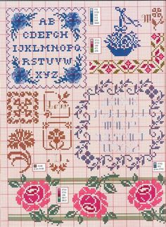 Gallery.ru / Фото #6 - 70 - kento Cross Stitch Borders, Cross Stitch Rose, Cross Stitch Alphabet, Cross Stitch Flowers, Cross Stitch Designs, Cross Stitching, Cross Stitch Embroidery, Cross Stitch Patterns, Bordado Tipo Chicken Scratch