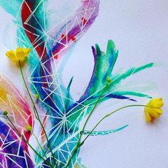 I love drawing energies . . . . . . #Lifeincolour  #art #flowers #floralart #energy #spirituality #nature #watercolour #drawing #geometry #doodles  #colourfulart #natureart #fineart  #veganart #create #creativity #fineart #WSA by anjaleepeiris