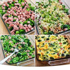Ingredientes   4-6xícaraspequenas de brócolis, escaldados por cerca de 2 minutos  1-2 xícaras de presunto picado  1xícarade mussarela ralada  1/3 xícara de cebolinha em fatias