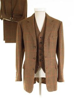 Vintage Welsh & Jefferies Savile Row bespoke 3 PIECE tweed suit