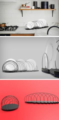 The Foldish (a portmanteau of the words fold and dish) is a collapsible dish holder that can go from a seemingly spherical shape to a linear arrangement, allowing you to arrange dishes with space in between so that they don't clatter against one another. It's a rather simple and playful alternative to most dish racks that are just boring rectangular wire-frames that hold your crockery.