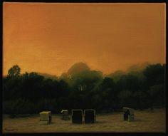 """Twilight"" 33/41 cm, oil painting on canvas. Krzysztof Rzeźniczek, from the series ""Night life of light""."