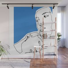 line drawing-Faces Wall Mural Wall Drawing, Drawing Faces, Line Drawing, Wall Murals Bedroom, Bedroom Decor, Wall Decor, Creative Wall Painting, Creative Walls, Interior And Exterior