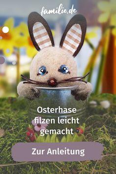 Das Osterfest nähert sich und ihr sucht noch nach einer Beschäftigung für groß und klein? Wir haben eine süße Idee für euch: Filzt doch mal einen niedlichen Osterhasen selbst. Unser kleines Häschen sitzt im Topf und schaut niedlich aus zwei Knopfaugen. Pikachu, Fictional Characters, Cute Ideas, Kids Discipline, Family Life, Easter Bunny, Fantasy Characters