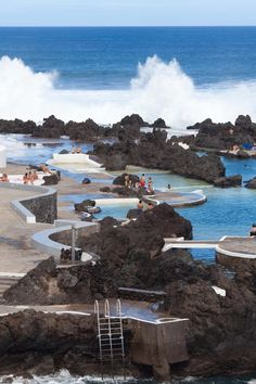 These natural pools in Porto Moniz, #Madeira are filled by tides from the Atlantic Ocean and surrounded by lava rocks.