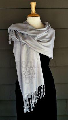 Monogrammed Pashmina, Monogrammed Shawl, Monogrammed Wrap, Monogrammed Scarf, Bridal Party Gift, Wedding Party Gift, Bridesmaids Gift