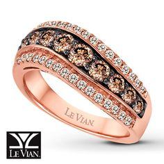 Le Vian Chocolate Diamonds® 14K Strawberry Gold 1 1/6 Carat t.w. Ring...anyone for a little chocolate covered strawberry? Yes please...