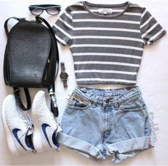 t-shirt love stripes gray and white crop tops striped top denim shors light blue nikes sunglasses black backpack watch high waisted shorts black leather backpack