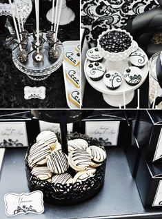 black and white decorations for a birthday party | Dramatic Black and White Dessert Table