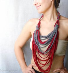 CRIMSON ROSE upcycled cotton jersey scarf necklace by Neema Designs @ www.neemadesigns413.etsy.com