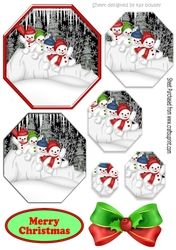 Lovely snowmen playing in the snow hexagon pyramids on Craftsuprint - View Now!