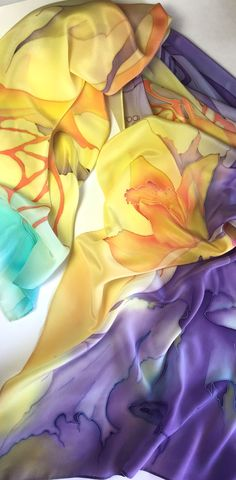 Spectacular Hand Painted Silk Scarf, Purple Yellow, Orchid Butterfly, Design in Abstract Style,Luxurious gift for her Abstract Styles, Abstract Art, Painted Silk, Hand Painted, Yellow Orchid, Silk Art, Watercolor Effects, Silk Painting, Silk Scarves