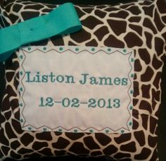 Giraffe  Personalized baby pillow.$23.99 www.etsy.com/shop/GiftsandDecor4