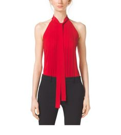 Pleated Tie-Neck Silk-Georgette Top | Michael Kors