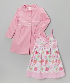 This Pink Floral Babydoll Dress & Jacket - Infant, Toddler & Girls by Sugah & Honey is perfect! #zulilyfinds