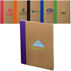 Color-Pop Recycled Notebook - An Eco-Responsible™ product, Recycled. recycled lined paper and natural kraft cover. White stitch binding with a color block accent. Add some color to your next meeting or event! Pocket Notebook, Branded Gifts, Corporate Gifts, Paper Shopping Bag, Color Pop, Promotion, Recycling, Branding, Messages
