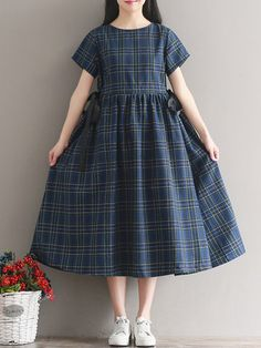 Female Vestidos 2018 New Spring and Autumn Casual Clothes Women Long Sleeve Blue Plaid Linen Dresses Linen Dresses, Women's Dresses, Cute Dresses, Fashion Dresses, Girls Dresses, Flower Dresses, Robes Vintage, Vestido Casual, Mode Outfits