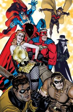 I have very specific visions of some of the 'Before Watchmen' stuff; the more Golden Age stuff should be in a simpler, cleaner style. Michael Golden has captured the Golden Age Minute Men perfectly in this piece.