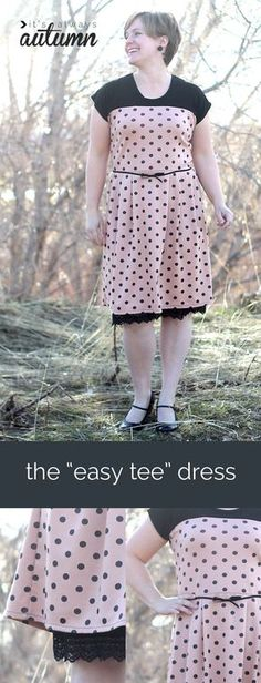Learn to sew a cute retro-look dress for women using just a t-shirt pattern with this easy to follow tutorial. Photos and link to free tee pattern included!