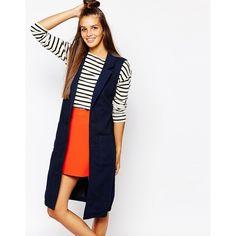 Monki Longline Sleeveless Denim Jacket ($60) ❤ liked on Polyvore featuring outerwear, jackets, navy, navy blue jacket, denim jacket, sleeveless denim jacket, oversized jacket and no sleeve jean jacket