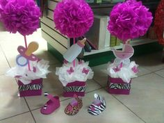 Centros de mesa #Zebra Shower Party, Baby Shower Parties, Baby Shower Themes, Baby Shower Gifts, Shower Ideas, Shower Bebe, Girl Shower, Baby Shower Centerpieces, Party Centerpieces