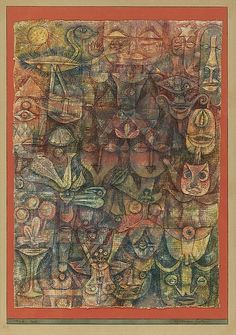 Paul Klee | Strange Garden 1923| The Met Watercolor on gesso on fabric, bordered with gouache and ink, mounted on cardboard.