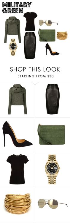 """""""Military Outfit"""" by angieinspires on Polyvore featuring Rick Owens, Christian Louboutin, Emily Cho, Vince, Rolex, Black & Sigi and Chanel"""