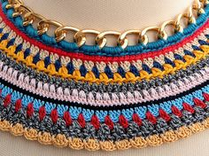Nefertiti Collar 2 Crochet colorful tribal necklace by bibatron